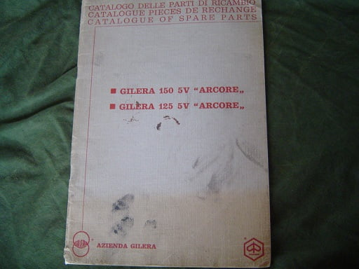 GILERA  125 en 150 ARCORE 5 V 1972 ??  spare parts catalogue