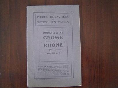 MOTOCYCLETTES GNOME RHONE  D 3 en D 4 1929 ? notice d'entretien