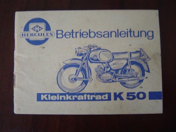 HERCULES kleinkraftrad K50 betriebsanleitung K 50 instructie boekje