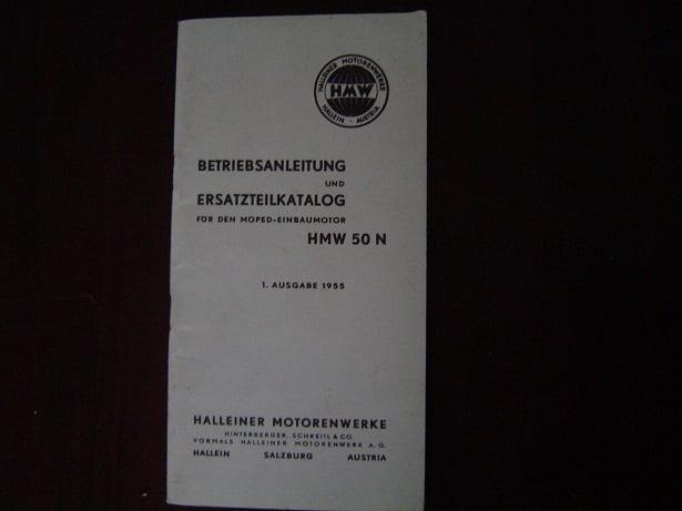 HMW  50 N betriebsanleitung ersatzteil katalog 1955 Halleiner motorenwerke