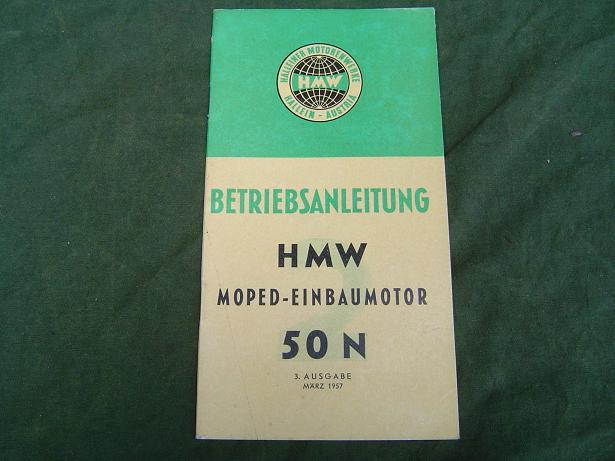 HMW  50 N moped einbaumotor 1957 betriebsanleitung