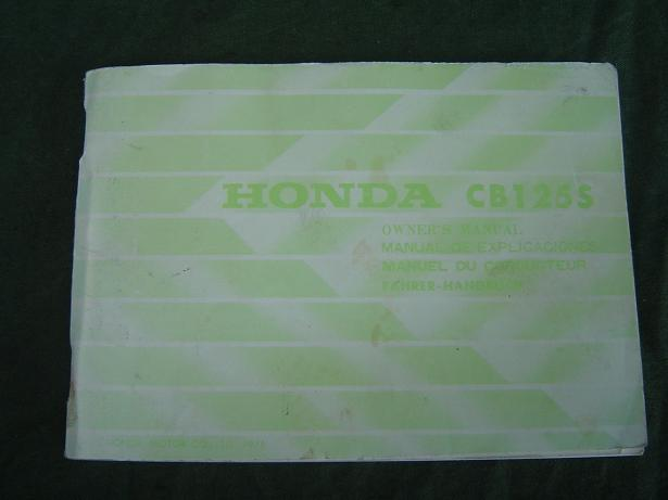 HONDA CB 125 S 1976 owner's manual