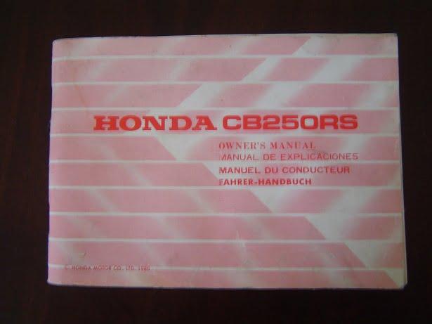 HONDA CB 250 RS 1980 owner 's manual CB250 RS