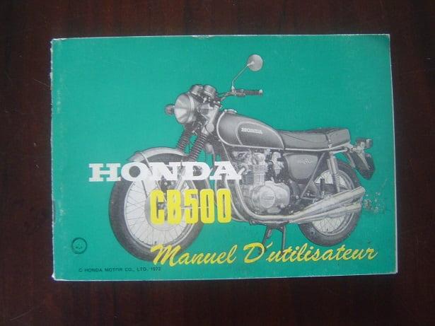 HONDA CB500 1972  manuel d'utilisateur instructie boekje CB 500 K1