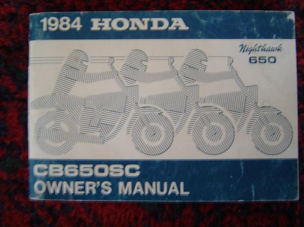 HONDA CB 650 SC nighthawk 1984 owners manual