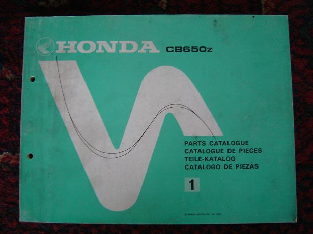 HONDA CB 650 1978 parts catalog
