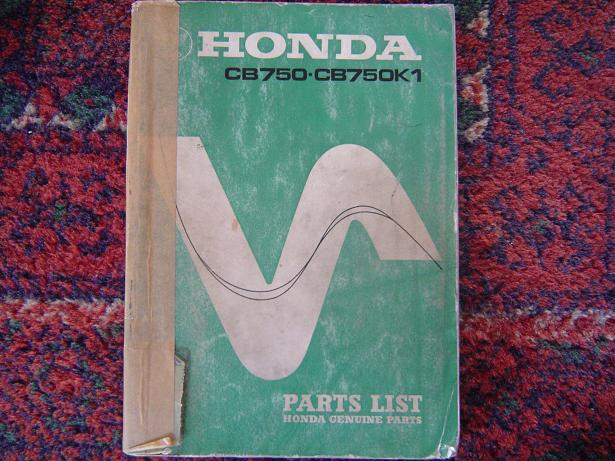 HONDA CB 750  en CB 750K1  1970 parts list