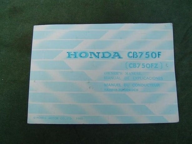 HONDA CB 750 F  1980 owner's manual