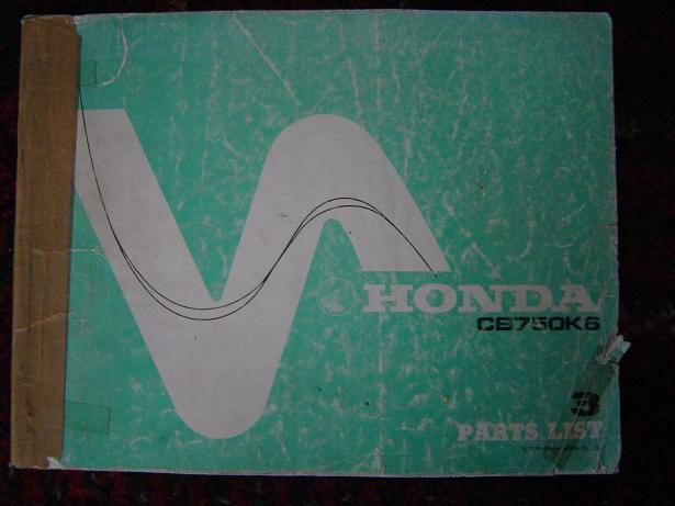 HONDA CB750K6    1978  parts list CB 750 K 6