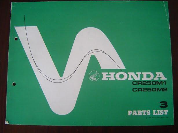 HONDA CR250 M1 M2 1976 parts list CR 250 ELSINORE