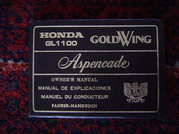 HONDA GL 1100 Goldwing  Aspencade owners manual