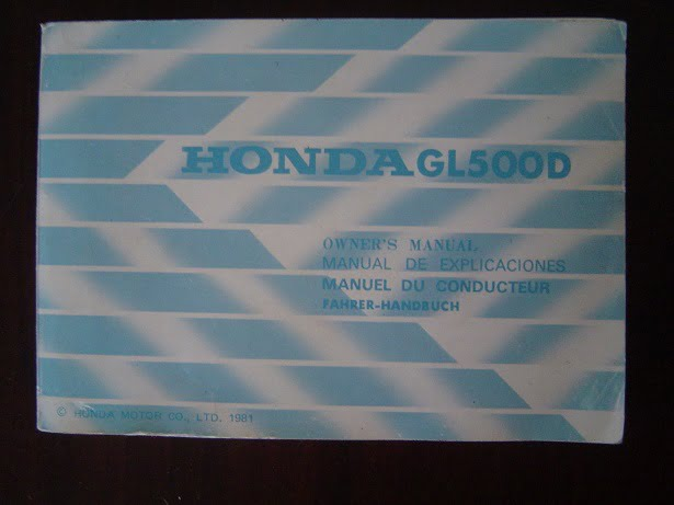 HONDA GL500D 1981 owner 's manual GL 500 D