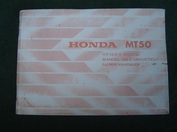 HONDA MT 50 E 1979 owner's manual