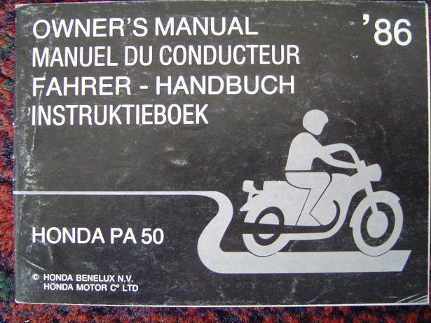 HONDA PA 50 1986 owner's manual  / instructie boekje