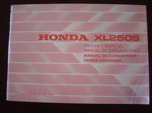 HONDA XL250 S 1978 owner 's manual XL 250 S instructie boekje