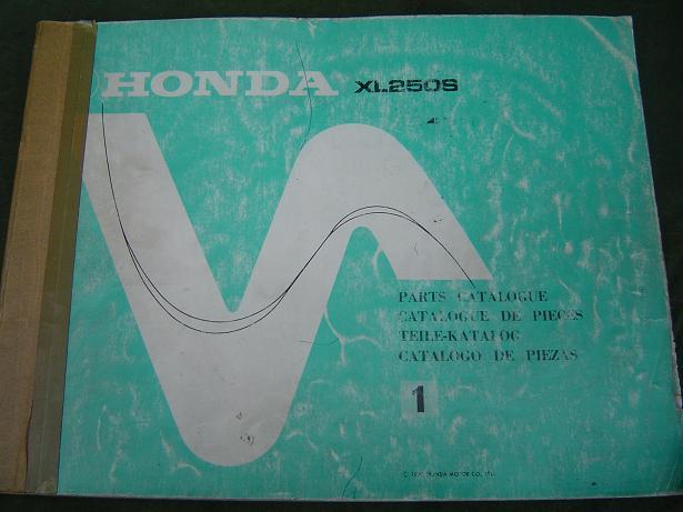 HONDA XL250  1978 parts catalogue  xl 250 S