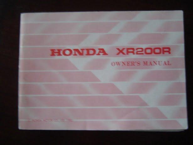 HONDA XR200 R 1982 owner 's manual XR 200 R