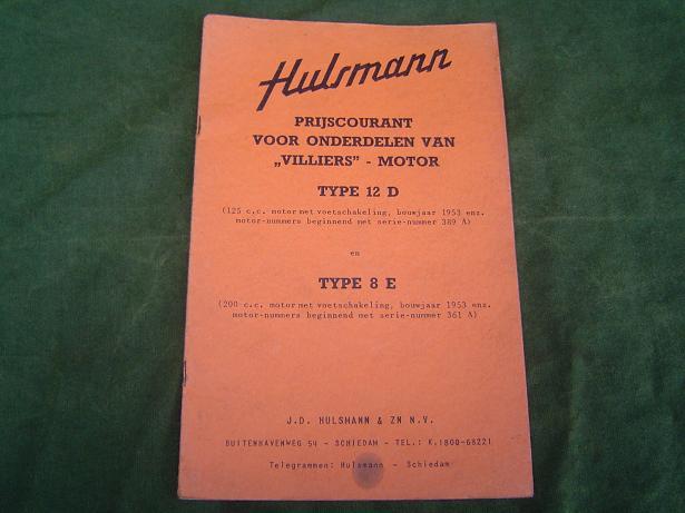 HULSMAN prijs courant   VILLIERS motoren type 12D type 8D  1953