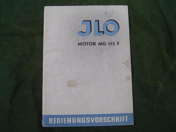 JLO MG 175 F motor bedienungsvorschrif  MG175F