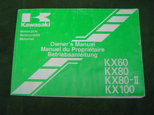 KAWASAKI KX 60 KX 80  KX 100  1991 owner's manual