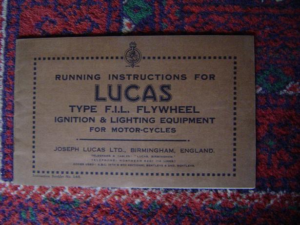 LUCAS type F.I.L FLYWHEEL running instructions