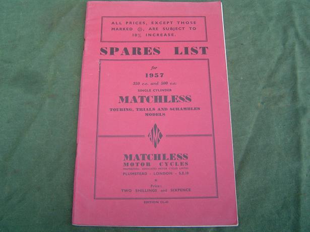 MATCHLESS 1957 G3LS en G80 models spares list