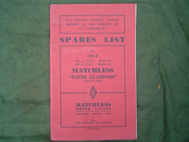 MATCHLESS Super Clubman G9  G 11 1957 spares list