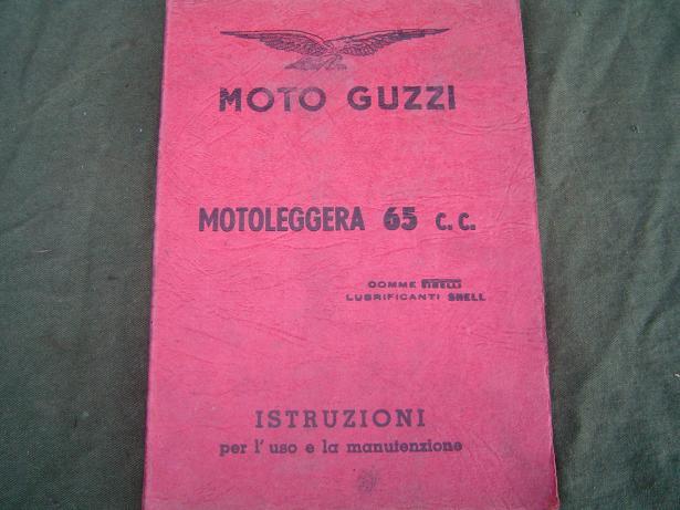 MOTO GUZZI motoleggera 65 cc 1951 istruzioni instructie boekje