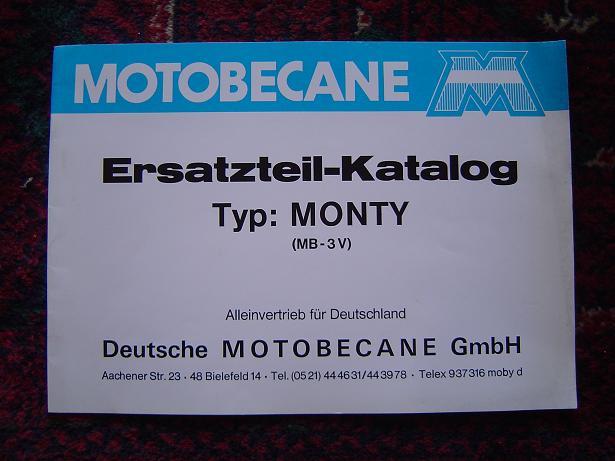 MOTOBECANE MONTY  MB-3V ersatzteil-katalog 1977 ?