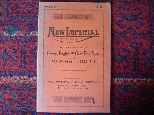 NEW IMPERIAL all models 1926 – 1928 list of frame engine gearbox