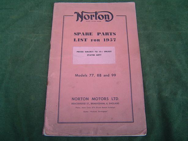 NORTON models 77 , 88 en 99  1957 spare parts list