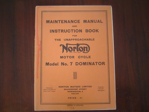 NORTON model No. 7 DOMINATOR 1950 ? maintenance manul