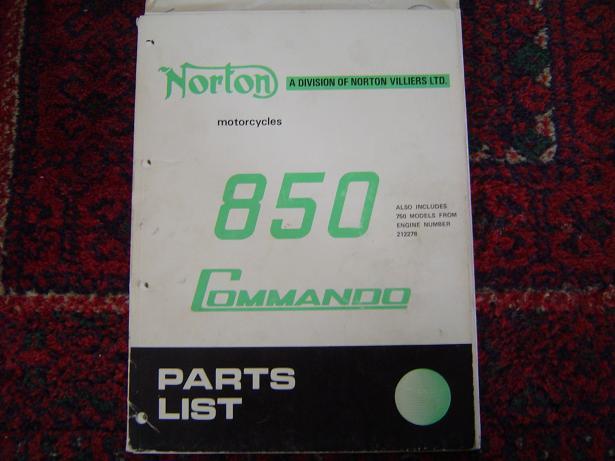 NORTON 850 Commando  1973 parts list