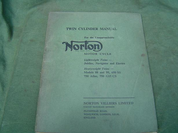 NORTON  twin cilinder manual jubilee model 88 99 650 atlas etc.1966