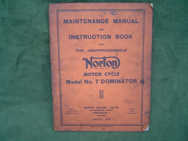 NORTON model no. 7 Dominator 1953 instruction book