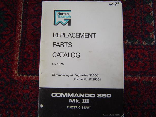 NORTON triumph 850 Commando MK III 1975 parts catalogue