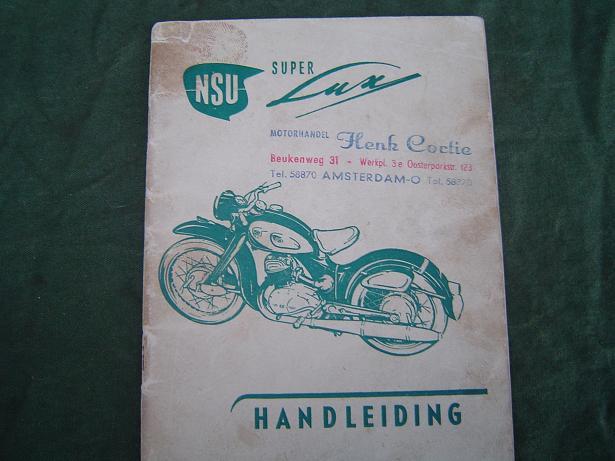 NSU super LUX 1955 handleiding