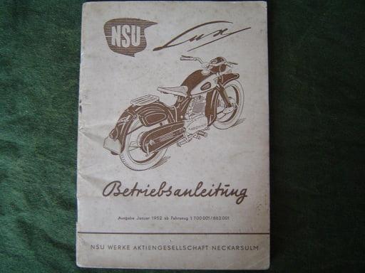 NSU LUX 1952 betriebs anleitung  instructie boekje