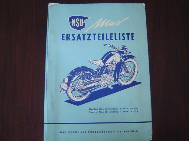 NSU MAX  Standard Spezial 1954 ersatzteileliste onderdelen boek parts list