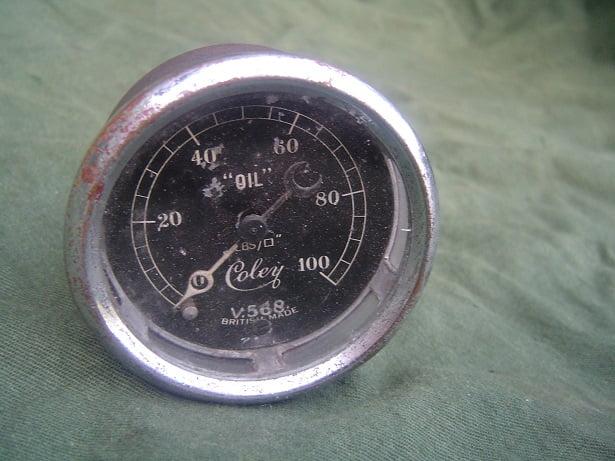 "COLEY 100 Lbs 1930's oil pressure gauge  V568 British made 2"""