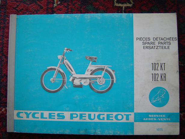 PEUGEOT  102 KT  , 102 KR  1975 spare parts catalog