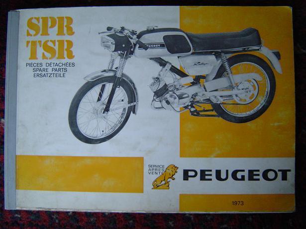 PEUGEOT SPR TSR 3 speed 1973 spare parts list ersatzteile liste cyclomoteur moped