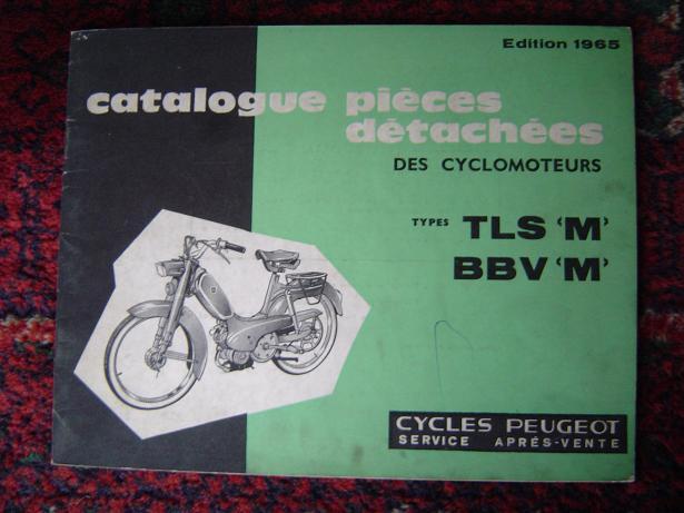 PEUGEOT cyclomoteur 1965 type TLS M en BBV M onderdelen catalogus
