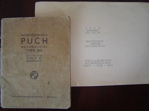 PUCH 125  TT dubbel zuiger instructie boekje vooroorlogs ? pre war ?