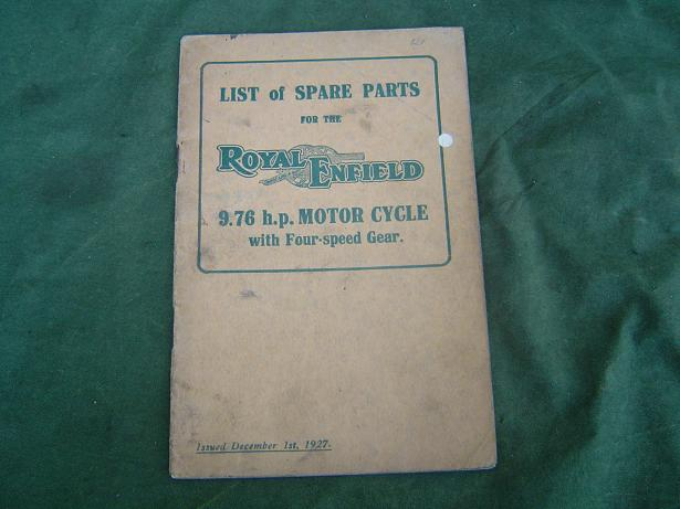 ROYAL ENFIELD 9.75 HP motorcycle 1927 spare parts list