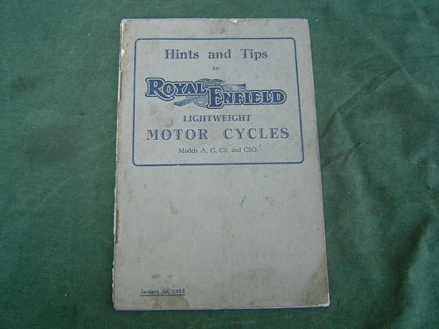 ROYAL ENFIELD lightweight motorcycles 1932 models A,C,CS,CSO