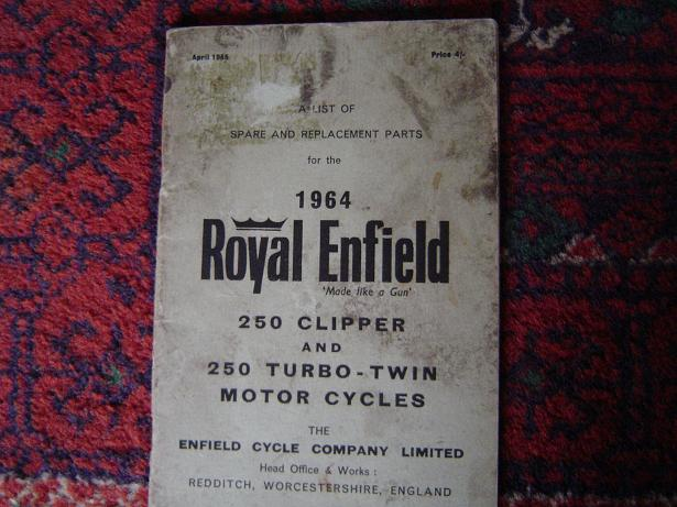 ROYAL ENFIELD 1964 250 clipper en 250 turbo twin spares list