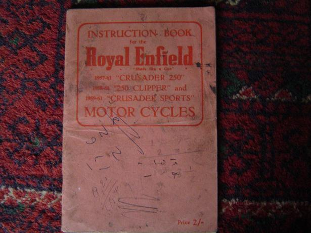 ROYAL ENFIELD 1957 – 1961 Cruisader 250 , clipper 250 instruction book