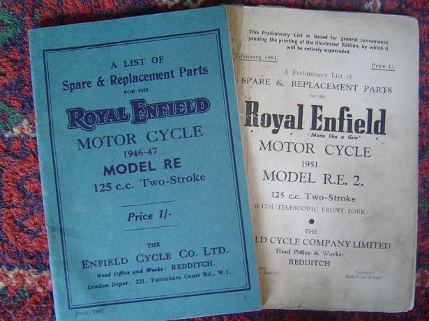ROYAL ENFIELD model RE 125 1946-47 spare parts list