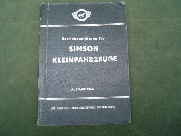 SIMSON kleinfahrzeuge 1966 betriebsanleitung